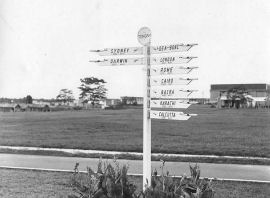 signpost outside RAF Tengah aircrew mess